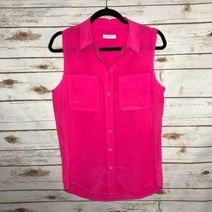 Equipment femme slim standard silk blouse hot pink